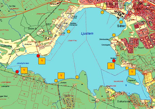 Karta över vindskydd och bryggor runt sjön Ljustern
